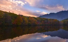 Картинка осень, лес, облака, деревья, пейзаж, горы, туман, озеро, отражение, холмы, берег, спокойствие, вечер, Япония, дымка, …