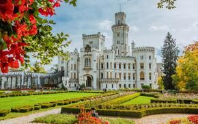 Картинка солнце, деревья, цветы, дизайн, замок, сад, Чехия, кусты, Hluboka Castle