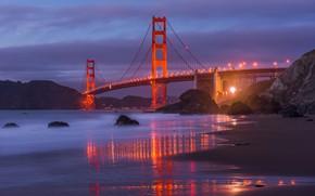 Картинка песок, пляж, горы, ночь, мост, город, огни, камни, скалы, берег, вечер, Сан-Франциско, Золотые ворота, США, …