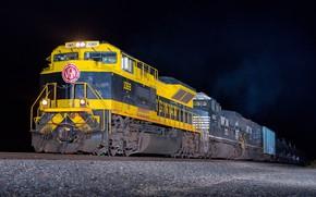 Картинка ночь, поезд, вагоны