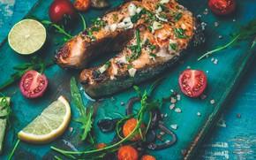 Картинка лимон, рыба, овощи, помидоры
