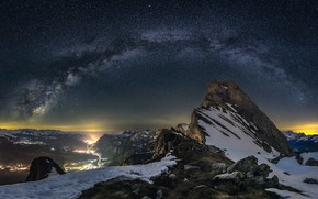 Картинка звезды, горы, ночь, камни, скалы, Альпы