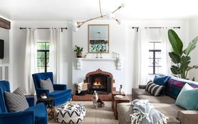 Картинка комната, интерьер, камин, гостиная