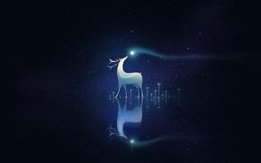 Картинка ночь, олень, россыпь звёзд