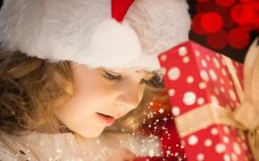 Картинка праздник, подарок, волшебство, ребенок, Новый год, боке