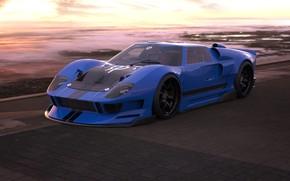 Картинка Ford, Авто, Машина, Ford GT, Art, Суперкар, Рендеринг, Concept Art, Передок, Ford GT40, Transport & ...