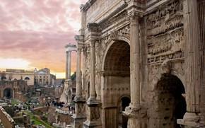Картинка Рим, Италия, Палатин, Триумфальная арка Септимия Севера
