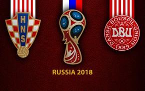 Картинка wallpaper, sport, logo, football, FIFA World Cup, Russia 2018, Croatia vs Denmark