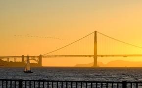 Картинка мост, лодка, парус, Сан-Франциско, Золотые Ворота, США