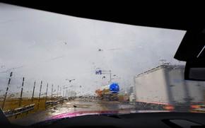 Картинка капли, машины, дождь, трасса, лобовое стекло, by rengreng