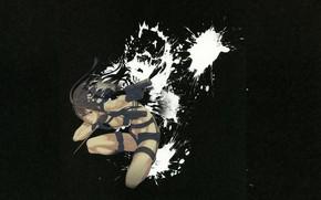 Картинка пистолет, оружие, кинжал, убийца, в темноте, брызги краски, by Yuusuke Kozaki, Kyoko Karasuma no Jikendo, …