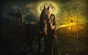 Картинка девушка, закат, лошадь