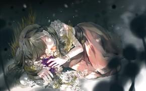 Картинка трава, девушка, спит
