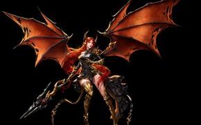 Картинка девушка, крылья, доспехи, арт, воительница