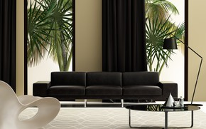 Картинка белый, дизайн, диван, черный, интерьер, кресло, гостиная, модерн