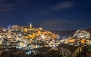 Картинка ночь, огни, Италия, панорама, Матера