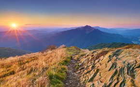 Картинка sky, landscape, nature, Sun, sunset, mountains, path, sun rays