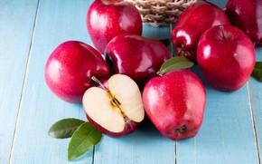 Картинка яблоки, red, фрукты, fresh, wood, fruit, apples