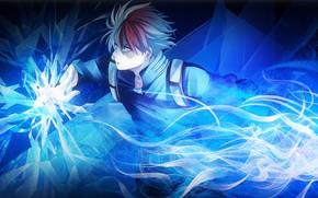 Картинка парень, Моя геройская академия, причуда, Boku No Hero Academia, Тодороки Шото, голубое пламя