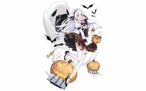 Картинка girl, sexy, halloween, long hair, anime, beautiful, Edinburgh, attractive, handsome, white hair, Azur Lane