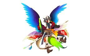 Картинка фентези, крылья, минимализм, ангел, мальчик, белый фон, копьё