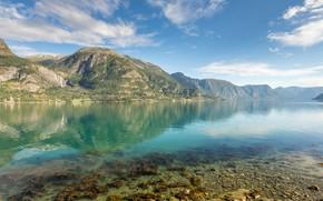Картинка небо, пейзаж, горы, природа, озеро, красота, панорама