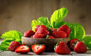 Картинка ягоды, сочная, клубника, листья