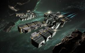 Картинка туманность, астероиды, Космос, space, космический корабль, eve online, space ship, космоопера