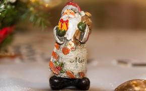 Картинка зима, праздник, игрушка, размытие, Рождество, Новый год, Санта Клаус, Дед Мороз, фигурка, боке, ёлочные украшения, …