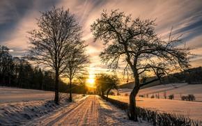Картинка зима, дорога, утро