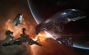 Картинка туманность, планета, станция, Космос, памятник, space, статуя, космический корабль, eve online, space ship, космоопера