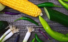 Картинка фон, Лук, перец, Кукуруза