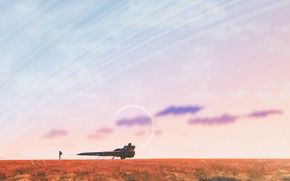 Картинка fantasy, sky, field, clouds, planet, digital art, artwork, fantasy art, Spaceship, astronaut