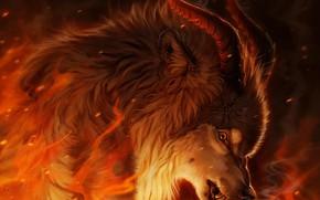 Картинка огонь, волк, фэнтези, рогатый, by Pixxus