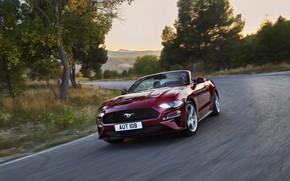 Картинка Ford, поворот, кабриолет, 2018, тёмно-красный, Mustang Convertible