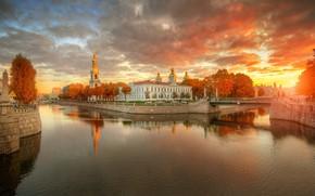 Обои осень, небо, закат, мост, Санкт-Петербург, канал, Гордеев Эдуард