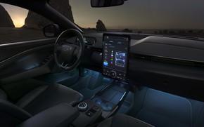 Картинка закат, Mustang, Ford, вечер, салон, кроссовер, 2020, электрокроссовер, Mach-E