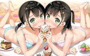Картинка мороженое, сладости, на кровати, нижнее бельё, зеленые глаза, сёстры, две девочки, пироженки, by Kantoku, Himeru, …