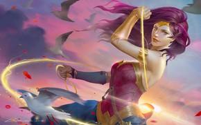 Картинка небо, девушка, солнце, лучи, птицы, фантастика, рисунок, арт, костюм, голуби, Wonder Woman, комикс, лассо, Чудо-женщина
