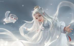 Картинка арт, котёнок, принцесса, детская, ня, li miao, 剑网三同人