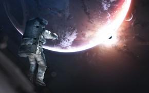Картинка Звезды, Скафандр, Планета, Космос, Туманность, Планеты, Астронавт, Костюм, Космонавт, Planets, Арт, Stars, Space, Art, Спутник, …