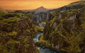 Картинка пейзаж, горы, природа, река, скалы, русло