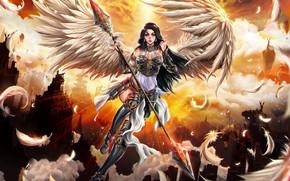 Картинка девушка, ангел, перья, воин