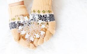 Картинка зима, снег, снежинки, pink, winter, варежки, snow, hands, snowflakes