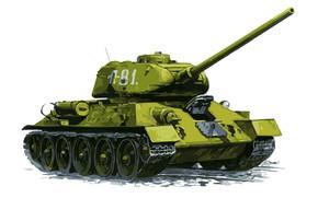 Картинка Рисунок, Белый фон, СССР, Арт, Танк, Tank, Средний танк, Т-34-85