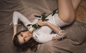 Картинка цветок, девушка, поза, роза, шатенка, Владимир Васильев