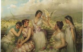 Картинка голубь, 5 девушек, IN THE SUNNY SOUTH, CORCOS