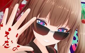 Картинка девушка, улыбка, рука, очки, Виртуальный Ютубер, Virtual YouTuber, Chieri Kakyoin