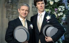 Картинка жених, Свадьба, Мартин Фриман, Бенедикт Камбербэтч, Sherlock, Sherlock BBC, Sherlock Holmes, Друзья, Джон Ватсон, Шляпы, …