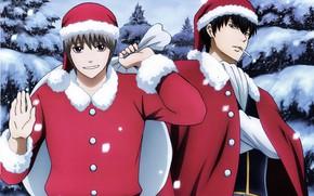 Картинка зима, снег, сигарета, ёлки, art, мешок с подарками, Gintama, Okita Sougo, Hijikata Toushirou, два парня, …